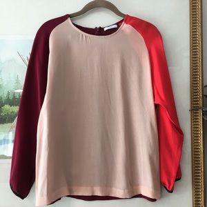 Tome Colorblock Blouse Shirt Raglan Sleeve Silk